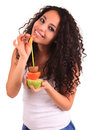 Young woman holding fruits. Isolated over white Royalty Free Stock Photos