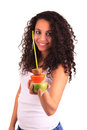 Young woman holding fruits. Isolated over white Stock Photo