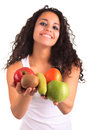 Young woman holding fruits. Isolated over white Royalty Free Stock Image