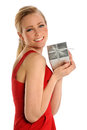 Young Woman Holding Gift Box Stock Photo