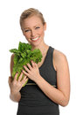 Young Woman Holding Head of Lettuce Stock Images
