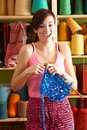 Young Woman Holding Knitting Standing Stock Photos