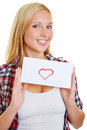 image photo : Young woman holding love letter