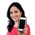 Young woman holding mobile phone Royalty Free Stock Photo