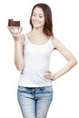Young woman holding piece of chocolate cake beautiful Royalty Free Stock Image