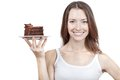 Young woman holding piece of chocolate cake beautiful Stock Photos
