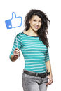 Young woman holding social media sign smiling white background Royalty Free Stock Images