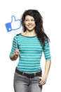 Young woman holding social media sign smiling white background Royalty Free Stock Photo