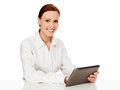 Young woman holding tablet computer Royalty Free Stock Images