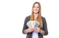 Young woman holding us dollar notes lots of all on white background Stock Photo