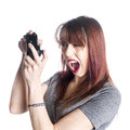 Young Woman Holding Video Game Joysticks Royalty Free Stock Photo