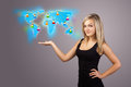 Young woman holding virtual map beautiful Stock Photo