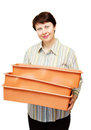 Young woman holds boxes for sprouts Stock Photo