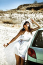 Young woman on holidays in greece happy travel the car Royalty Free Stock Photography