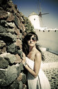 Young woman on holidays santorini oia town Royalty Free Stock Image