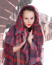Young woman in the hood in the old style Royalty Free Stock Photography