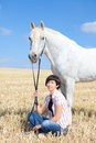 Young woman and Horse Stock Photos