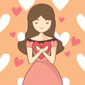 Young woman hugging heart love valentine day cartoon vector illustration Royalty Free Stock Image