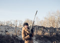 Young woman on the hunt Royalty Free Stock Photo
