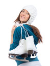 Young woman with ice skates for winter ice skating sport activity in white hat smiling isolated on a white background Stock Photos