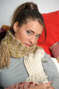 Young woman is ill in bed Stock Photography