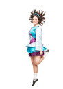 Young woman in irish dance dress dancing isolated and wig Royalty Free Stock Image