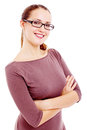 Young woman isolated cheerful business in black glasses with crossed arms on her chest on white background mask included Stock Photography