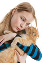 Young woman with a kitten. Stock Image