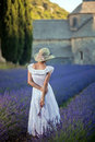 Young woman in lavender field looking to the medieval abbey of s romantic lady an ancient monastry background wearing white dress Stock Image
