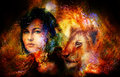 Young woman and lion cub in cosmic space. Crackle effect.