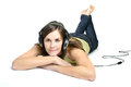 Young woman listen to music with earphones listening Royalty Free Stock Images