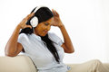 Young woman listening to music and having fun Royalty Free Stock Photo