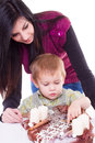 Young woman and little boy with advent wreath women isolated Royalty Free Stock Photos