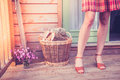 Young woman with logs on porch a is standing a a basket of for firewood Royalty Free Stock Photo