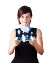 Young woman looking at modern tablet with social icons Royalty Free Stock Photos