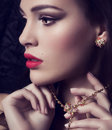 Young woman with makeup portrait of beautiful Stock Images