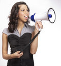 Young woman making announcement Royalty Free Stock Photo