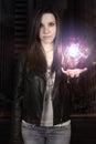 Young woman making a fireball Royalty Free Stock Photo