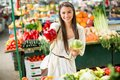 Young woman on the market Royalty Free Stock Photo