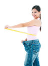 Young Woman Measuring Waistline Royalty Free Stock Photo