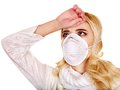 Young woman in medical mask sick Stock Photo