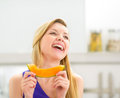 Young woman with melon slice Royalty Free Stock Photo