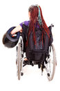 Young woman with motorcycle helmet on wheelchair Royalty Free Stock Photo