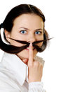 Young woman with moustache Royalty Free Stock Photos