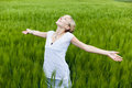 Young woman in nature with arm extended Royalty Free Stock Photo