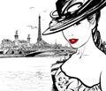 Joven mujer cerrar río en París