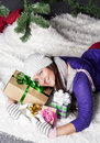 Young woman near xmas tree with presents pretty Royalty Free Stock Image