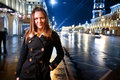 Young woman on night street Royalty Free Stock Image