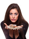 Young woman offering money Royalty Free Stock Images