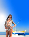 Young woman in Oia  Santorini island Greece Royalty Free Stock Photography
